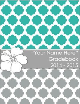 Teacher Grade Book Quatrefoil Hibiscus (Editable)