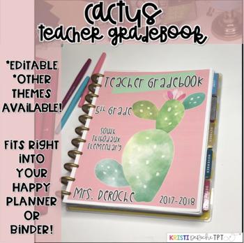 Teacher Grade book - EDITABLE - Cactus