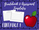 Teacher Gradebook & Assessment Data Templates