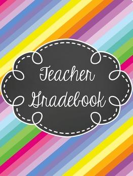 Teacher Gradebook - EDITABLE- Stripes