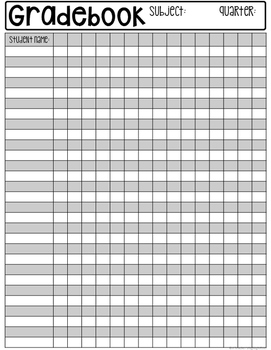 Teacher Gradebook Recording Sheets