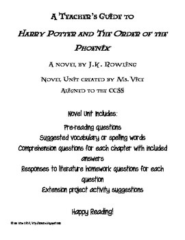 Teacher Guide for Harry Potter and the Order of the Phoenix