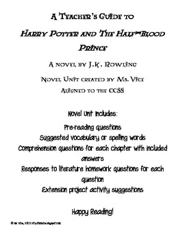 Teacher Guide for JK Rowling's Harry Potter and the Half-Blood Prince