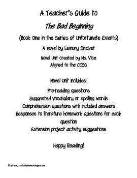 Teacher Guide for the Bad Beginning