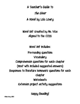Teacher Guide for the Giver