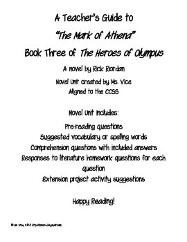 Teacher Guide for the Mark of Athena