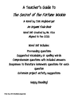 Teacher Guide for the Secret of the Fortune Wookiee