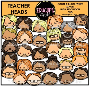 Teacher Heads Clip Art Bundle