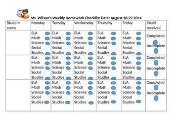 Teacher Homework checklist