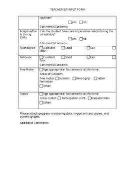 Teacher IEP Input Form