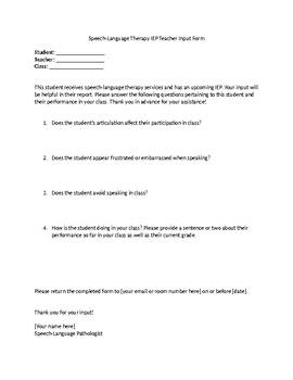 Teacher IEP Input Form for Articulation