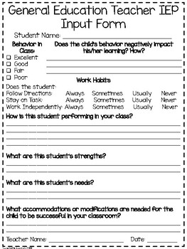 Teacher IEP input survey