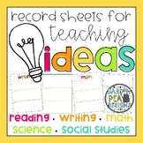 Record Teacher Ideas - 2nd Grade