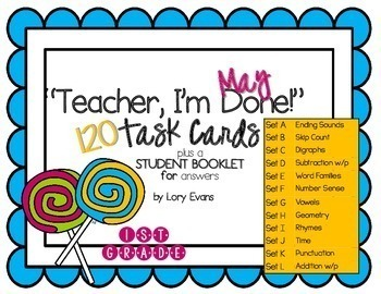 """1st Grade """"Teacher, I'm Done!"""" Task Cards May"""