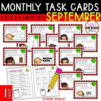 """1st Grade """"Teacher, I'm Done!"""" Task Cards September"""