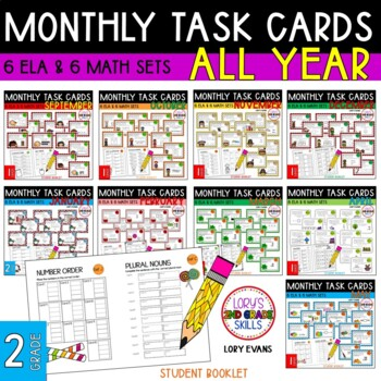 """2nd Grade """"Teacher, I'm Done!"""" Task Cards for ALL YEAR"""