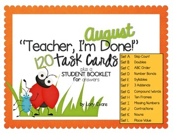 "2nd Grade ""Teacher, I'm Done!"" Task Cards for August"