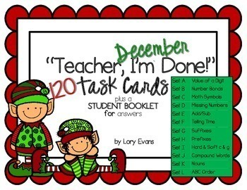"2nd Grade December ""Teacher, I'm Done!"" Task Cards"