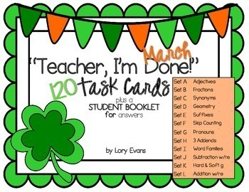 """2nd Grade """"Teacher, I'm Done!"""" Task Cards for March"""