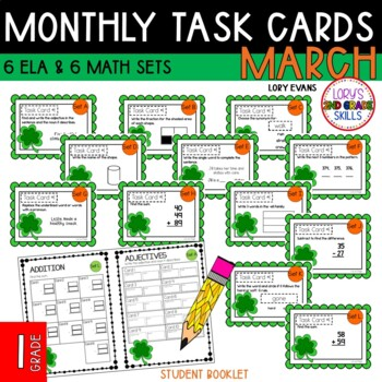 """""""Teacher, I'm Done!"""" Task Cards for March - 1st Grade"""