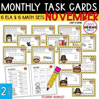 """2nd Grade """"Teacher, I'm Done!"""" Task Cards for November"""