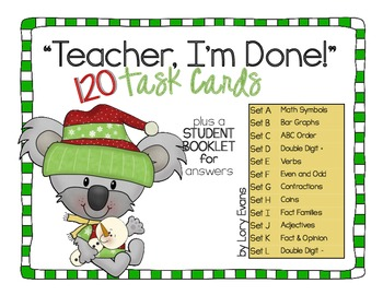 "2nd Grade ""Teacher, I'm Done!"" Task Cards for Winter"