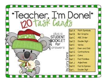 """""""Teacher, I'm Done!"""" Task Cards for Winter"""
