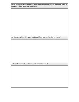 Lesson Plan Template Editable Differentiation of Instruction