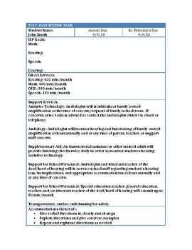 Teacher In-Service Handout: IEP At a Glance