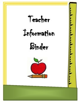 Teacher Info Binder Cover Sheet