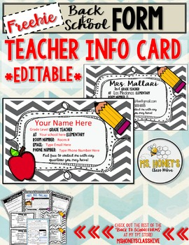 Teacher Info Card (Freebie)