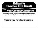 Teacher Info Cards