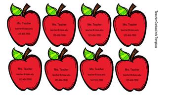 Teacher Info Magnet Template