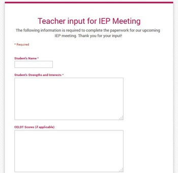 Teacher Info for IEP - Online Google Form - FREEBIE