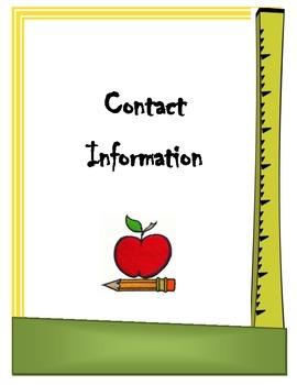 Teacher Information Binder Cover sheet/dividers