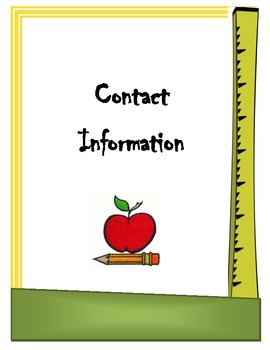 Teacher Information Binder Cover sheet/dividers