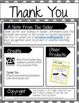 Teacher Information Card