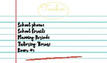 Teacher Information Card Student/Parent Handout Whiteboard Beginning of Year