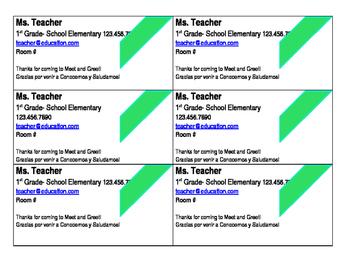 Teacher Information Card-editable