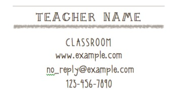 Teacher Information Cards