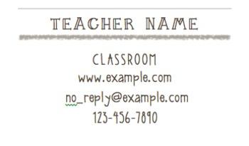 Teacher Information Cards