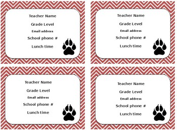 Editable Teacher Information Cards