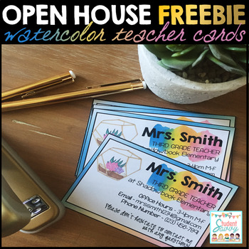 Teacher Information Cards Freebie - Watercolor