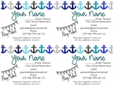 Teacher Information Contact Cards - Anchor / Nautical Themed