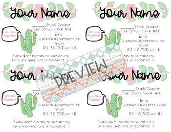 Teacher Information Contact Cards - Cactus Themed