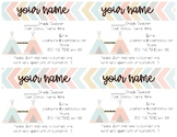 Teacher Information Contact Cards - Tribal Themed
