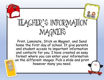 Teacher Information Magnets