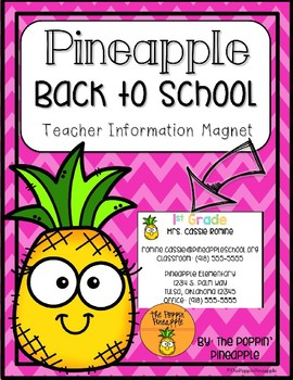 Teacher Information Magnets in Tropical Pineapple Theme EDITABLE