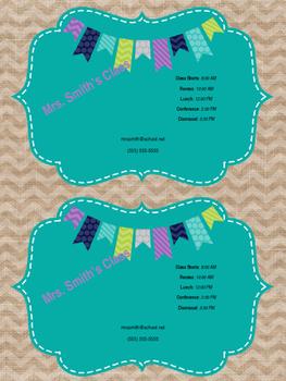 Teacher Information Magnets **Editable