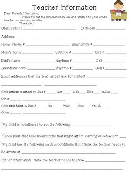 Teacher Information Page